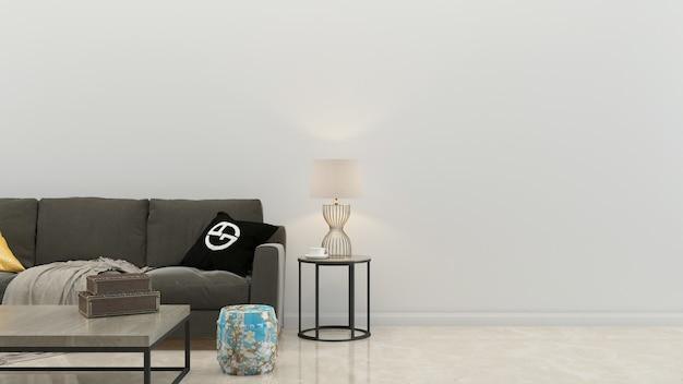Plantilla blanca del fondo de la casa de la sala de estar del sofá de la pared de la teja de mármol