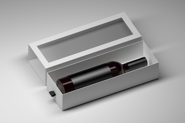 Plantilla de caja con botella de vino de vidrio oscuro en caja de regalo blanca en blanco sobre blanco