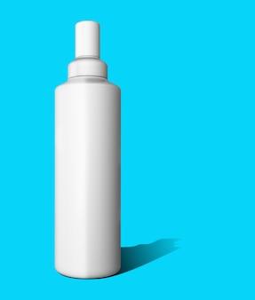 Plantilla de cosméticos en toscha azul. envase de plástico para productos cosméticos
