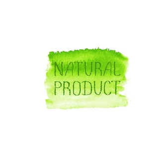 Plantilla de diseño de logotipo de concepto de productos naturales. bandera de cartel de emblema de etiqueta dibujada mano acuarela verde. letras en el ejemplo verde del punto de la acuarela de la textura del cepillo aislado en el fondo blanco.