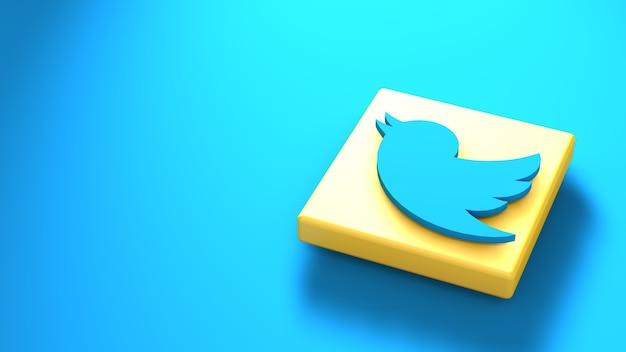 Plantilla de diseño simple minimalista del logotipo de twitter. copia espacio 3d