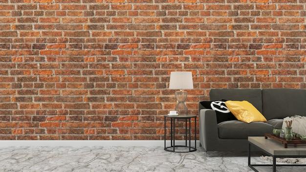 Plantilla del fondo de la casa de la sala de estar del sofá gris de la pared del ladrillo