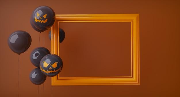 Plantilla de halloween naranja horizontal, marco naranja y globos negros de halloween a la izquierda