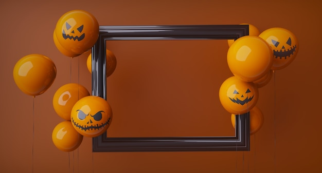 Plantilla de halloween naranja horizontal, marco negro y globos naranjas de halloween