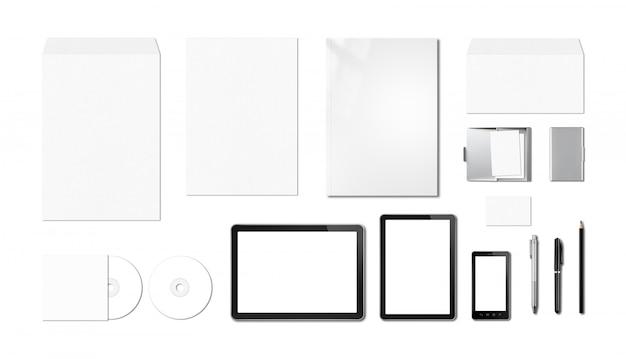 Plantilla de maqueta de marca corporativa, fondo blanco