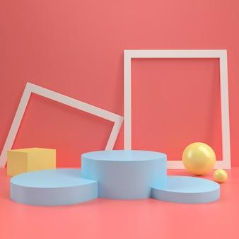 Plantilla de mesa de visualización de escenario de podio de círculo de podio en colores pastel simulado hasta composición de pared de madera minimalista representación 3d