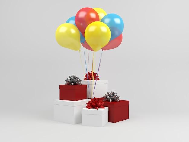 Plantilla de navidad regalo caja pastel fondo globo