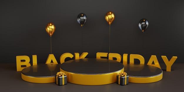 Plantilla de podio de viernes negro con globo 3d y caja de regalo. psd premium