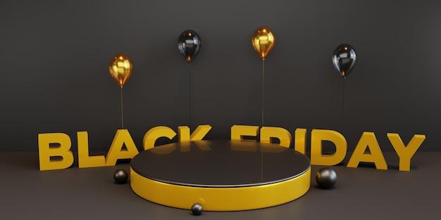 Plantilla de podio de viernes negro con globo 3d. psd premium