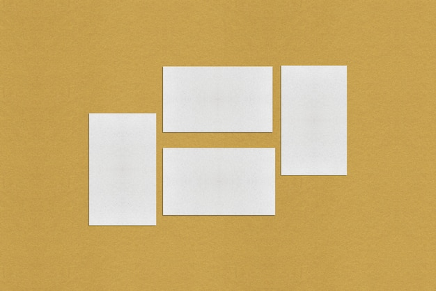 Plantilla de tarjeta de visita en blanco blanco, tarjeta de visita blanca sobre fondo dorado