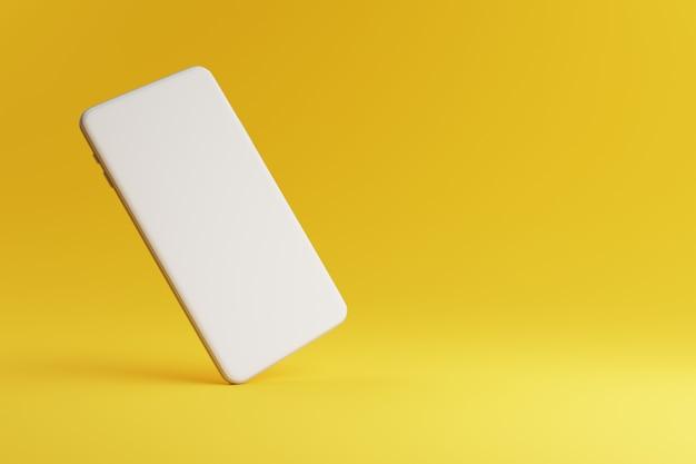 Plantilla de teléfono móvil con pantalla en blanco sobre amarillo. concepto de gadget de tecnología y comunicación. representación 3d