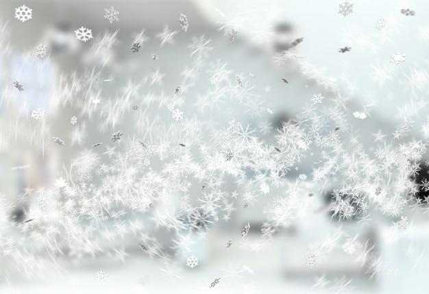 La plata que cae 3d hace copos de nieve