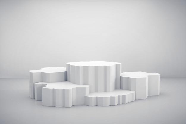 Plataforma blanca del soporte de exhibición del producto actual fondo, representación 3d.