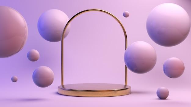 Plataforma dorada con arco rodeado de esferas.