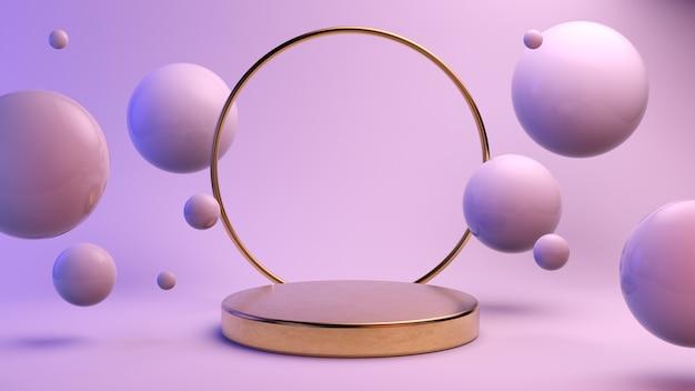 Plataforma dorada mínima para la presentación del producto.