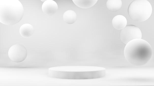 Plataforma con esferas flotantes presentación de producto blanco en renderizado 3d