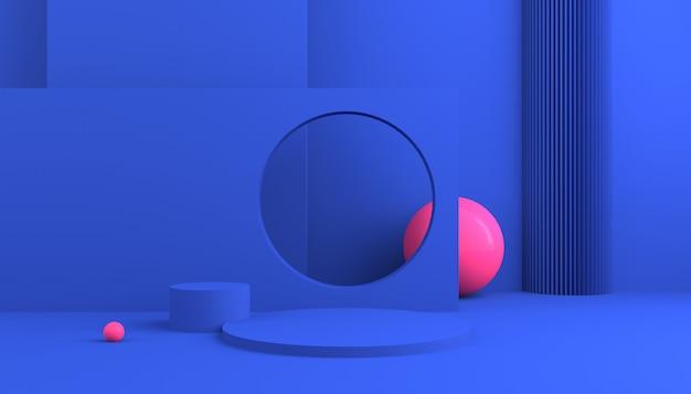 Plataforma de exhibición azul con bola rosa