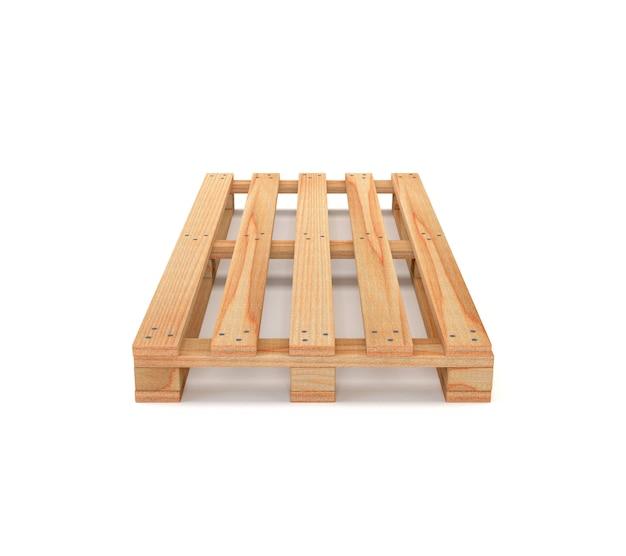 Plataforma de madera aislada en el fondo blanco. 3d ilustración