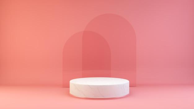 Plataforma de mármol con fondo de cristal.