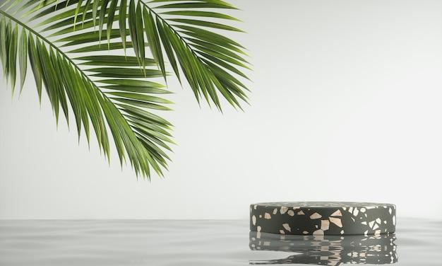 Plataforma mínima de piedra de terrazo negro sobre la ondulación del agua con hojas de palmera y fondo blanco 3d render