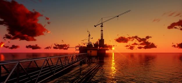 Plataforma petrolera y plataforma costa afuera en la hora del atardecer. render 3d