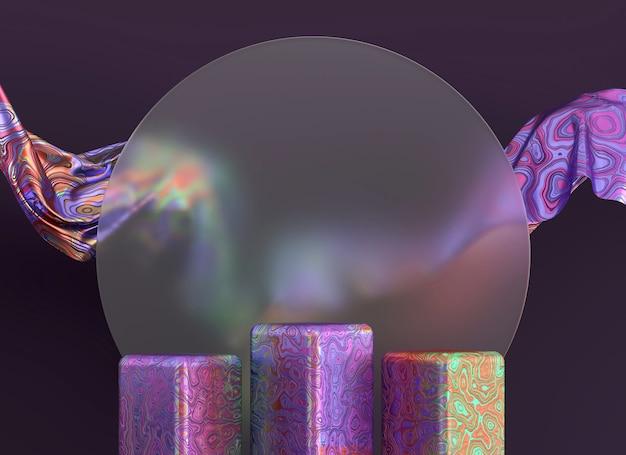 Plataforma de podio de objetos holográficos para escaparate de productos render 3d