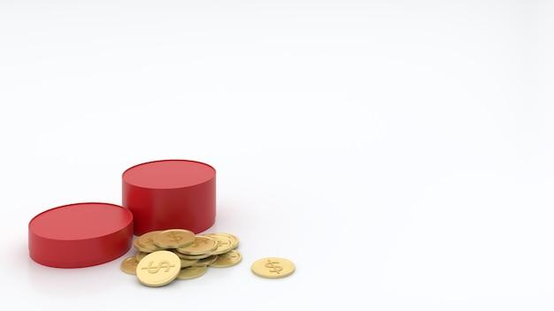 La plataforma redonda roja tenía diferentes niveles de monedas de oro.