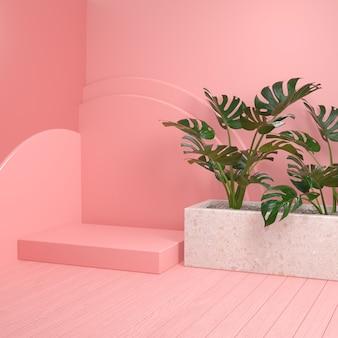 Plataforma rosa maqueta mínima con plantas monstera y piso de madera render 3d