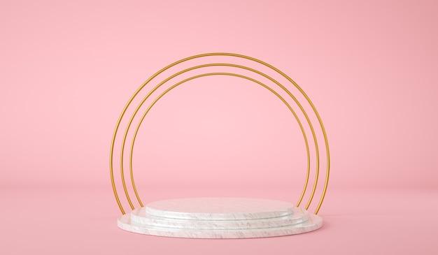 Plataforma vacía para presentación de producto con anillo dorado render