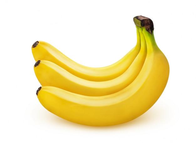 Plátano aislado sobre fondo blanco con trazado de recorte