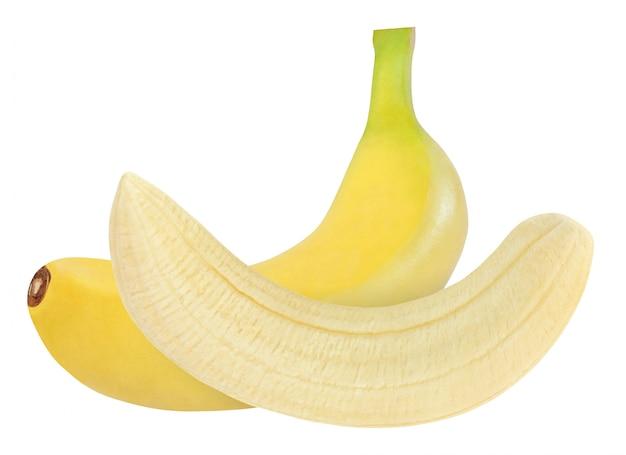 Plátano entero y pelado aislado sobre fondo blanco con trazado de recorte
