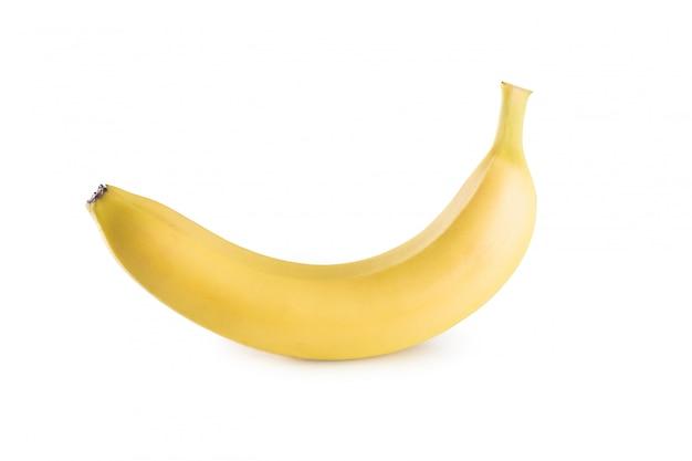 Un plátano sobre una superficie blanca