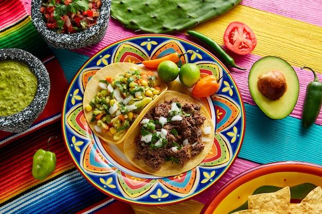 Platillo mexicano tacos de barbacoa y vegetariana