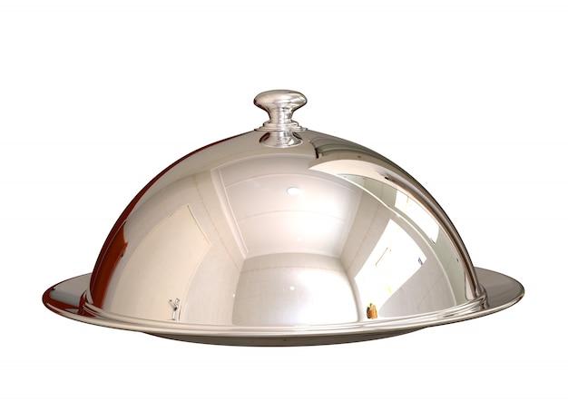 Plato cerrado de la comida del cloche de plata del cromo en el restaurante aislado en blanco