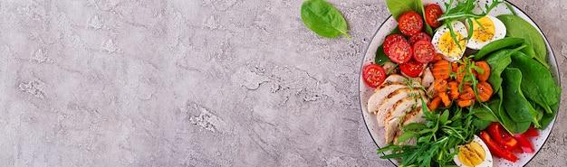 Plato con una comida de dieta ceto. tomates cherry, pechuga de pollo, huevos, zanahoria, ensalada con rúcula y espinacas. keto almuerzo. vista superior