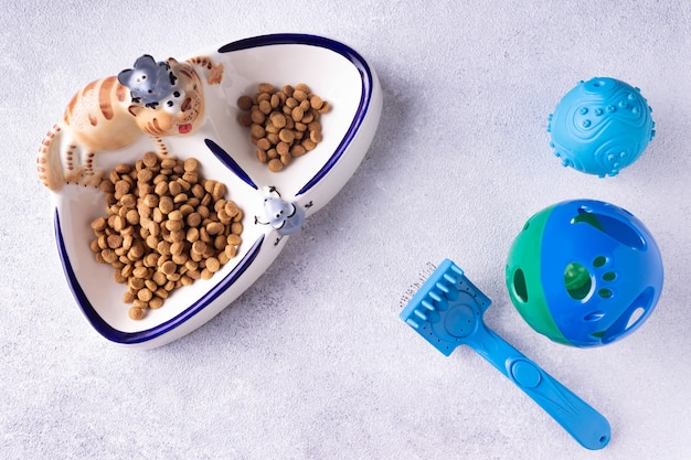 Un plato de comida y juguetes para el gato.