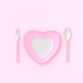Plato con forma de corazón con cuchara y tenedor color rosado. concepto de idea de amor, render 3d