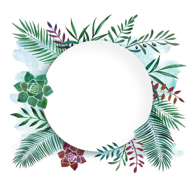 Plato de marco tropical botánico acuarela