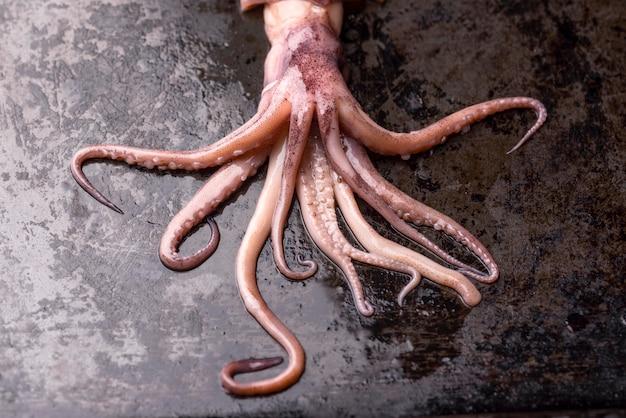 Plato de mariscos exóticos tentáculos de pulpo