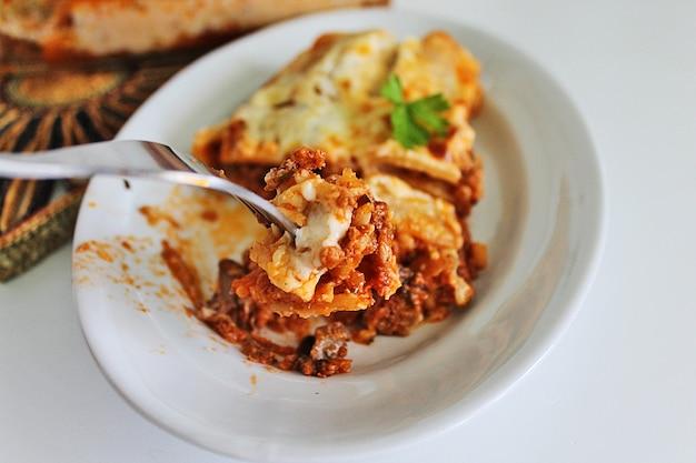 Plato de sabrosa pasta italiana