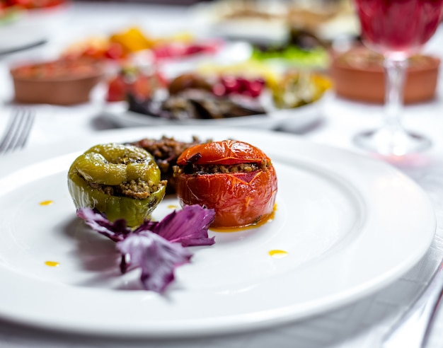 Plato tradicional tres hermanas dolma pimiento tomate y berenjenas rellenas de carne picada vista lateral