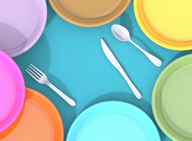 Platos de plástico, vasos y cubiertos, problemas de residuos plásticos