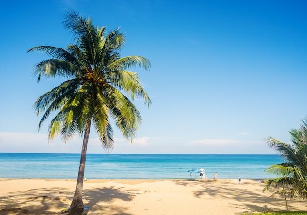 Playa con arena blanca y mar azul y cielo en temporada de verano.