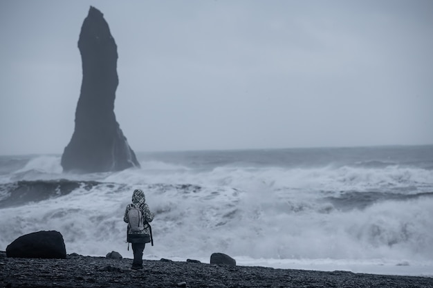 Playa de arena negra reynisfjara en vik, islandia