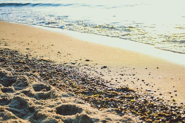 Playa de arena con una ola en un día soleado