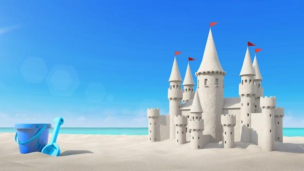 Playa de castillos de arena y juguetes en cielo brillante. representación 3d