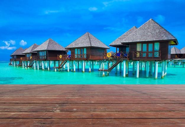 Playa en maldivas con pocas palmeras y laguna azul