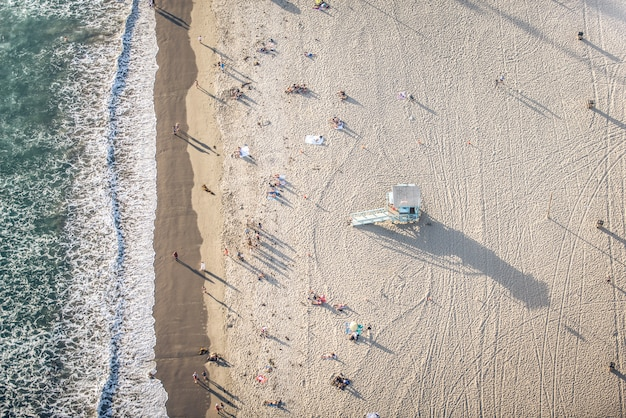 Playa de santa mónica, vista desde helicóptero