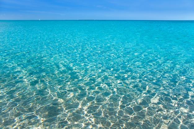 Playa tropical con arena blanca y agua turquesa.