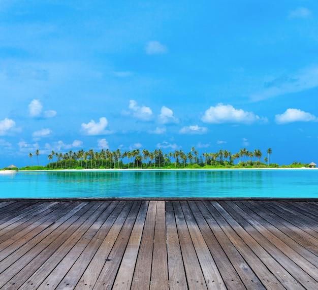 Playa tropical en maldivas con pocas palmeras y laguna azul